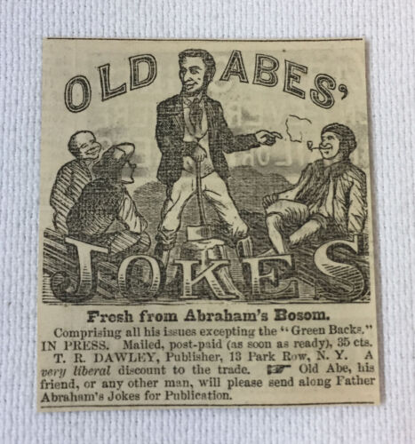 1864 small newspaper ad ~ OLD ABE