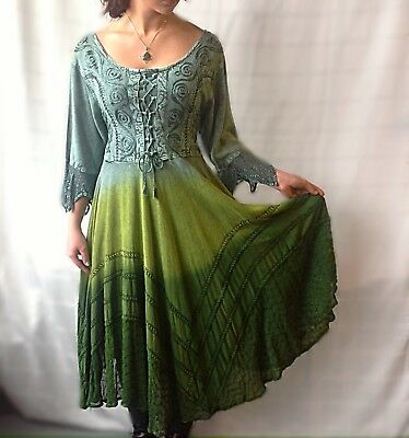 Green Renaissance Festival Dress Victorian Costume Boho Holiday Party