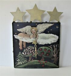 Nancy Thomas 1995 metal wall clock plaque, 9 x 12, Folk Art Angel, forest, stars