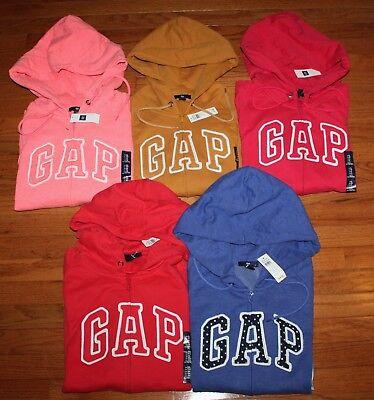 NWT Womens GAP Logo Front Zipper Hooded Sweatshirt Hoodie CHOICE of 12 COLOR *F6