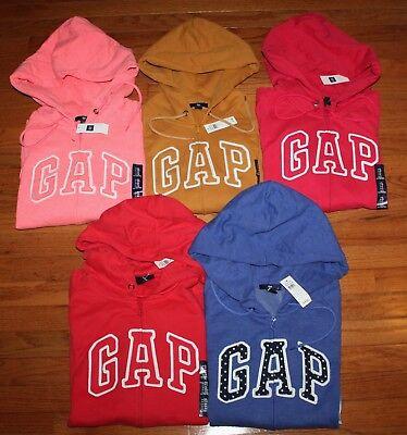 NWT Womens GAP Logo Front Zipper Hooded Sweatshirt Hoodie CHOICE of 12 COLOR *F6 (Gap Logo Sweatshirt)