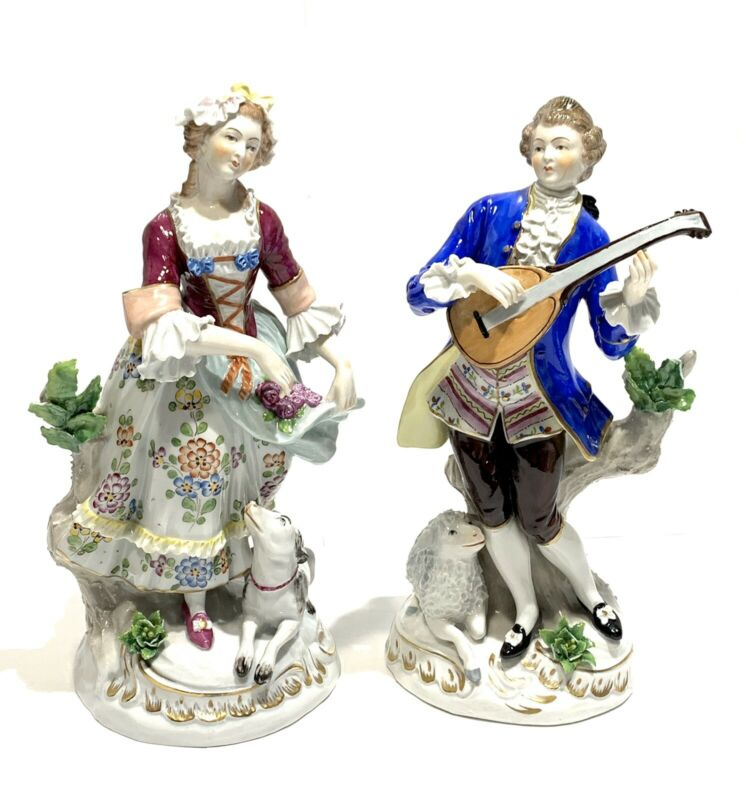 Antique Germany SITZENDORF Hand Painted Woman & Man Pair Porcelain Figurines