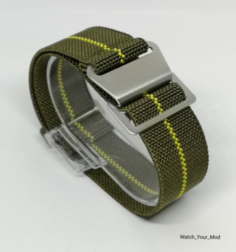 22mm olive green Military style Watch Strap parachute elasti