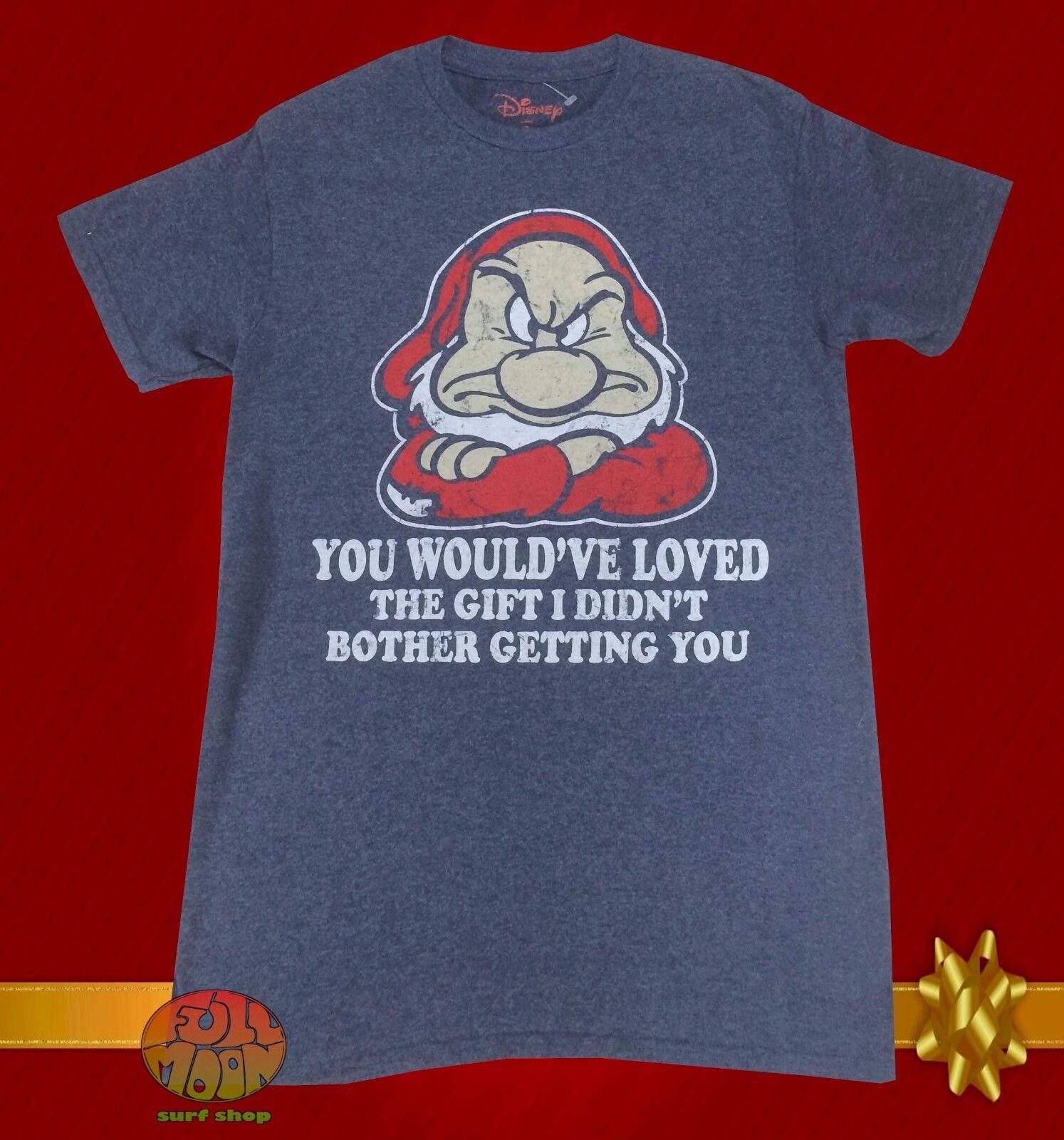 New Disney Snow White Grumpy No Gifts Men's Gray Christmas V