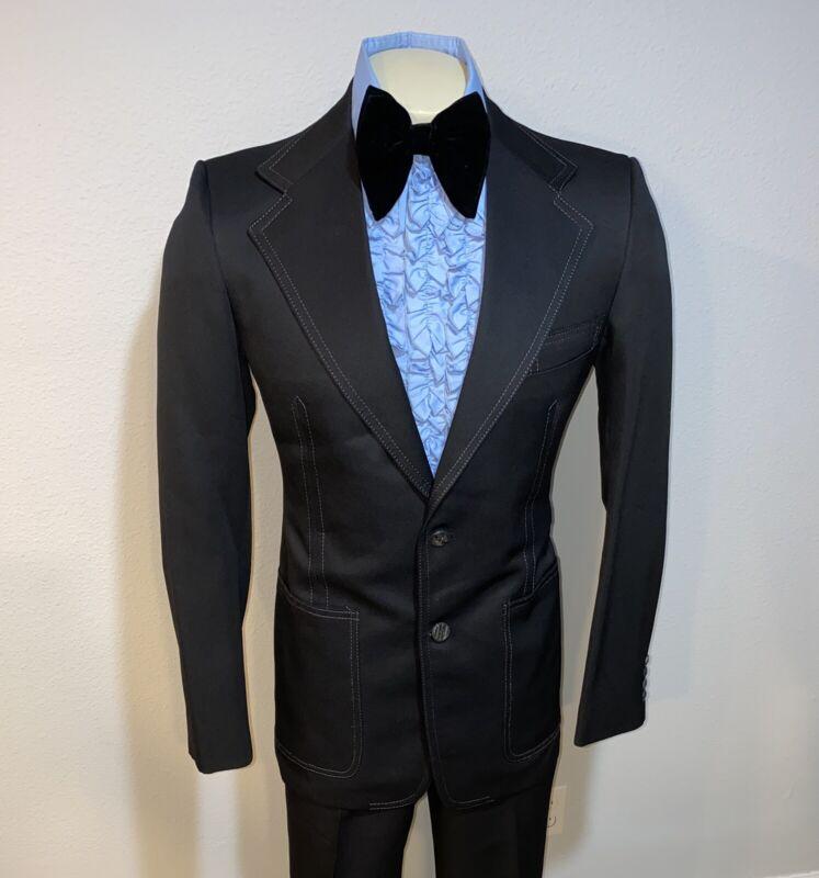 Vtg 60s 70s ALTON AMES Polyester TUXEDO SUIT Mens 40 L Jacket 32 31 Pants BLACK