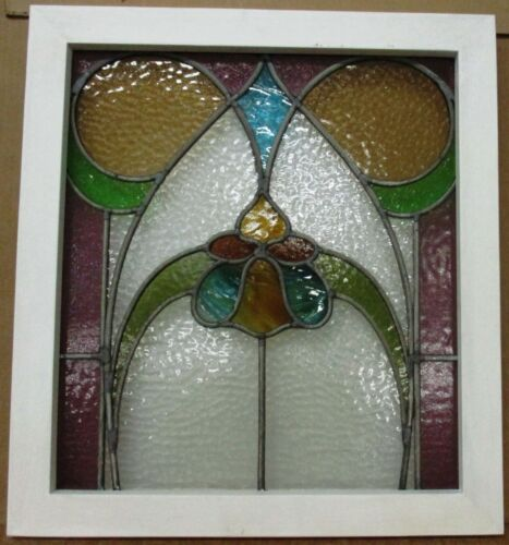 "MIDSIZE OLD ENGLISH LEADED STAINED GLASS WINDOW Abstract Floral 20.75"" x 22.75"""