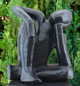 Figurine de jardin r veur noir sculpture en pierre homme - Figurine de jardin ...
