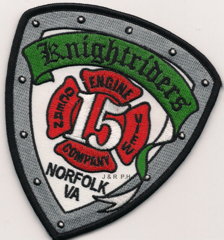 """Norfolk  Station-15  """"Knightriders"""", Virginia  (4"""" x 4.5"""" size) fire patch"""