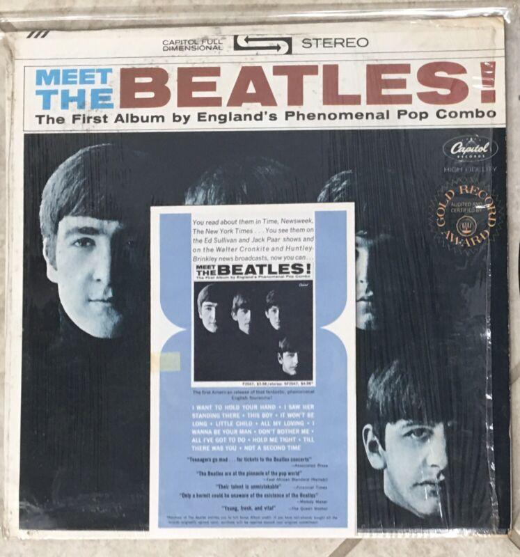 "Meet The Beatles W/ULTRA RARE PROMO Brochure ""Record Club"" Rainbow BLK ST-82047"