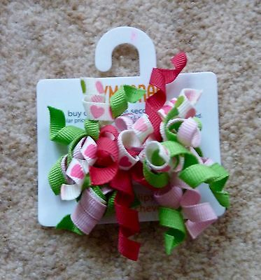 Gymboree Girls Curly Hair Clips x 2 - Green, Pink and White with Love Hearts New