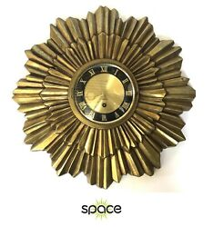 STUNNING VINTAGE GOLD METAL 8-DAY JEWELED SUNBURST WALL CLOCK - FREE SHIPPING -