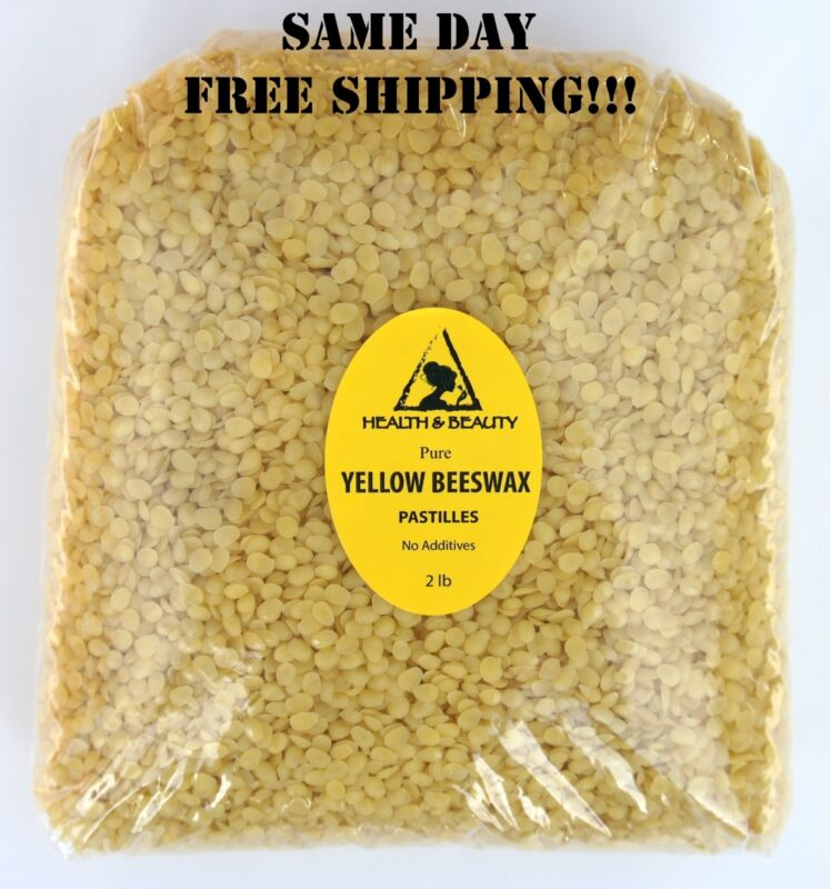 YELLOW BEESWAX BEES WAX ORGANIC PASTILLES BEADS PREMIUM 100% PURE 32 OZ, 2 LB