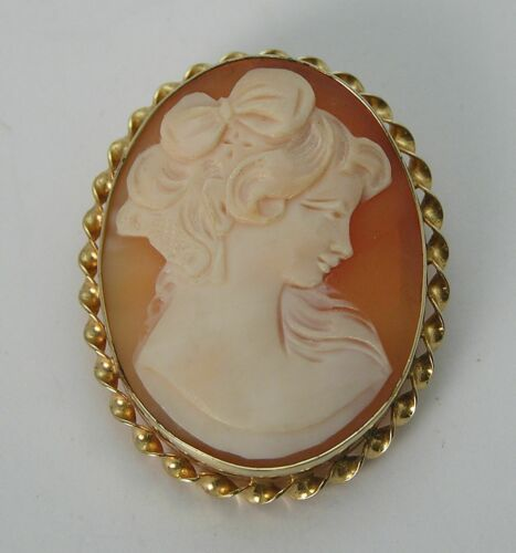 Gorgeous Hand Carved Shell Cameo Italy Sorrento Pin Pendant 1/20 12K Gold Filled