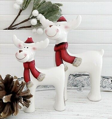 Reindeer Christmas Decoration Cute Ceramic Xmas Ornament Set of 2 Xmas Ornament