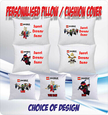 LEGO NINJAGO PERSONALISED CUSHION COVER or PILLOW CASE - choice of design