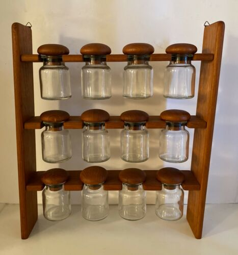 Vtg Mid Century Danish Modern Teak Spice Rack 12 Glass Jar Wood Mushroom Wall