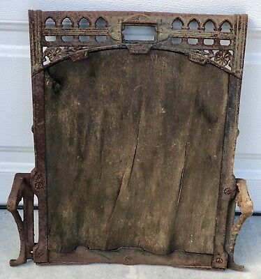 Antique Ornate Cast Iron Movie Theatre Stadium Auditorium Seat Back Frame 17x20