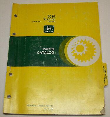 John Deere 2040 Tractor Dealer Parts Catalog Pc-4150 Sn.- 340999