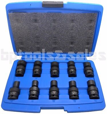 "10-PC 3/8"" DR. METRIC SHALLOW UNIVERSAL IMPACT BALL SWIVEL SOCKET SET"