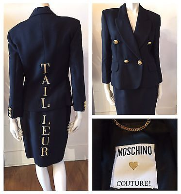 """Moschino Couture Italy Vintage 90s """"TAILLUER"""" 2 Pc Black Gold Skirt Suit Sz 10"""