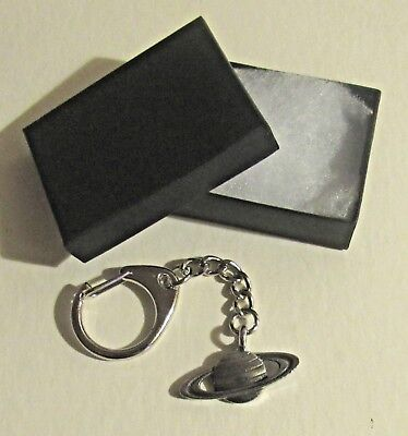 F) KEY-RING PEWTER SATURN SIXTH PLANET FROM THE SUN RINGS SOLAR SYSTEM SPACE - Solar Key Ring