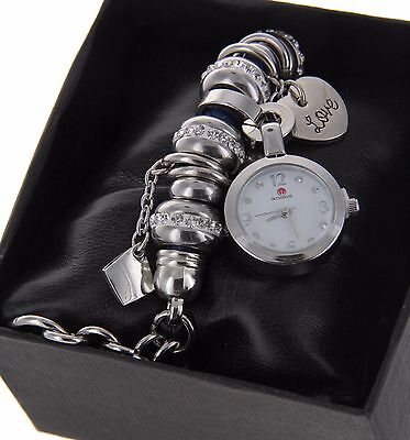 - Womens Girls Weave Bracelet Leather Band Quartz Watch With Crystals Charm