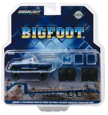 1:64 GreenLight *BIG FOOT MONSTER TRUCK* 1974 Ford F250 & GOOSENECK TRAILER NIP! (Monster Truck Toys)