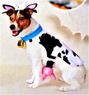 HALLOWEEN Dog Puppy Costume 3 Piece Black & White Holstein Cow Sizes XS / - Dog Halloween Cow Costume