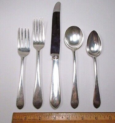 Vintage 1926 5pc Lunt USA Early American Plain Sterling Silver Place Setting Lunt Early American Plain