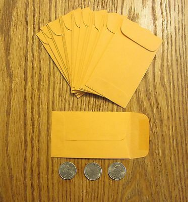 100 Kraft Small Change Coin Envelopes 3 Size 2.5 By 4.25 With Gummed Flap