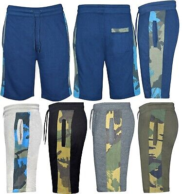 Mens Elasticated Waist gym TERRY Fleece Combat Shorts Pants Bottom Half Pants