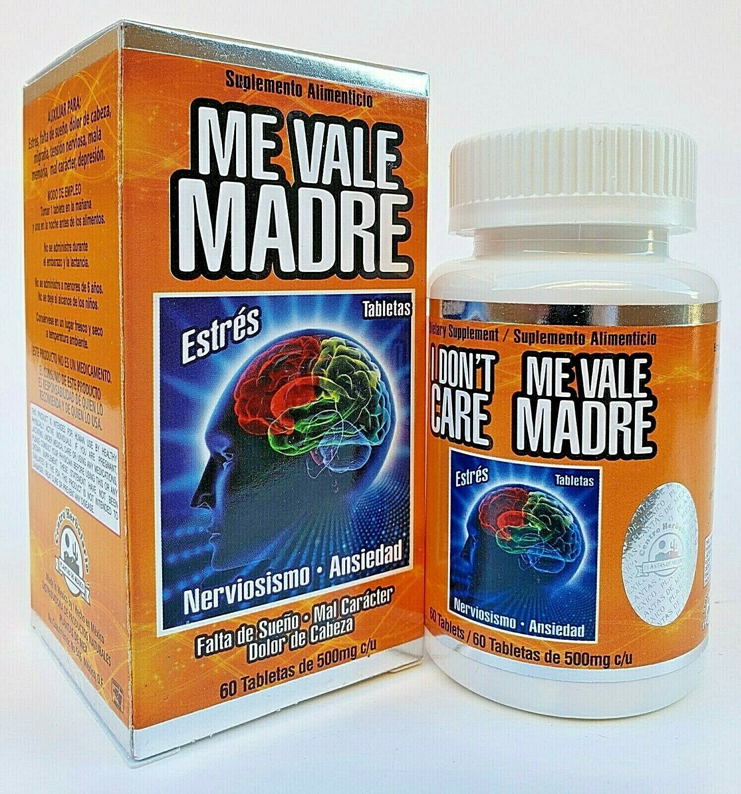 ME VALE MADRE 60 Tablets 500 mg each Support Estres Depresion Ansiedad 3