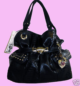 Kathy Van Zeeland Hearts on Fire Black Belt Shopper Handbag w/ Charms, NWT