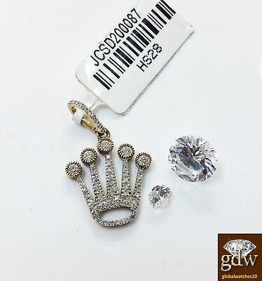 Diamond Crown Charm - Real 10k Yellow Gold and Diamond Crown Design Charm/Pendant, Angel, Cross, New.