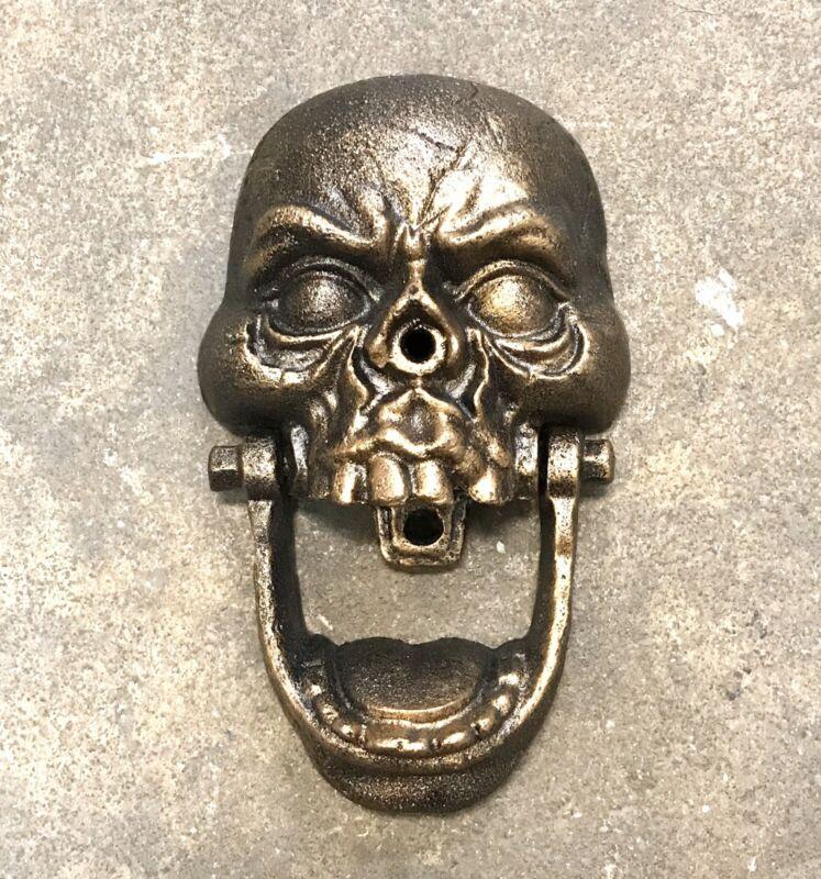 """Cast Iron Skull Skeleton Face Bronze-Color 7"""" Tall Door Knocker"""