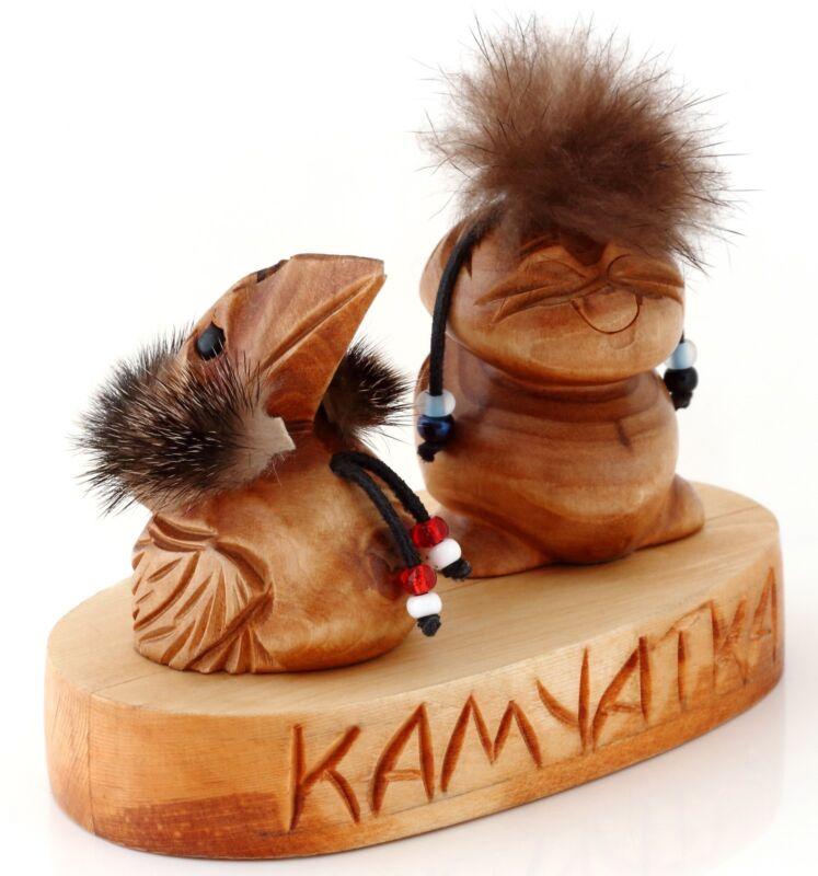 Raven+Kutkh+%26+Peliken+Billiken+Carved+Wooden+Figurine+Russian+Kamchatka+Folk+Art
