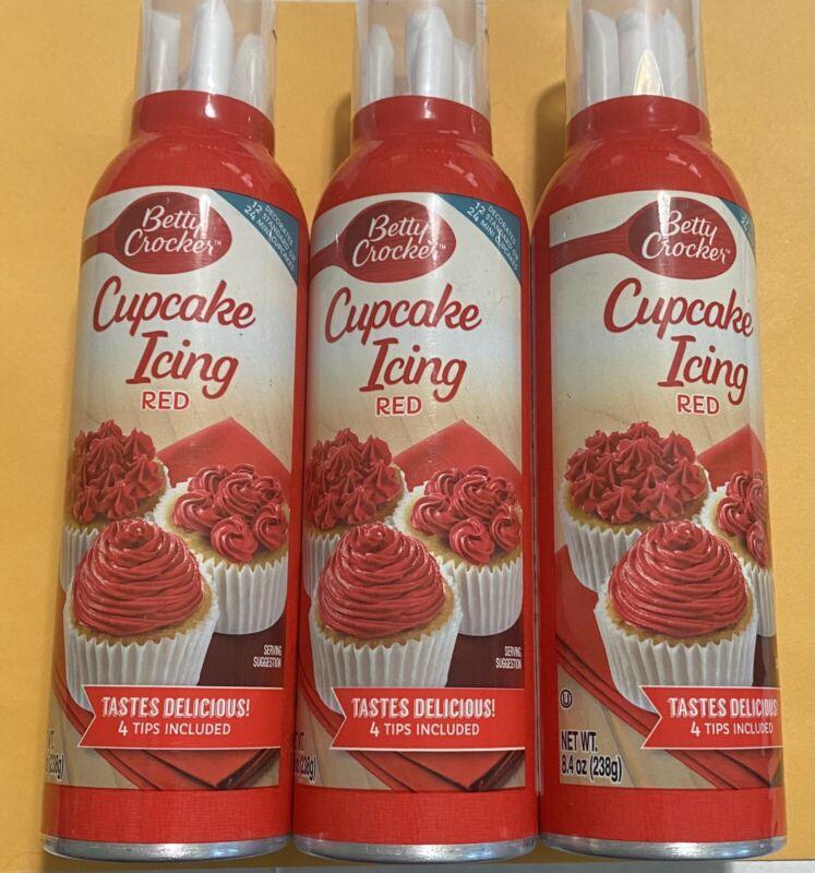3 - Betty Crocker Cupcake Icing Red, 8.4 OZ