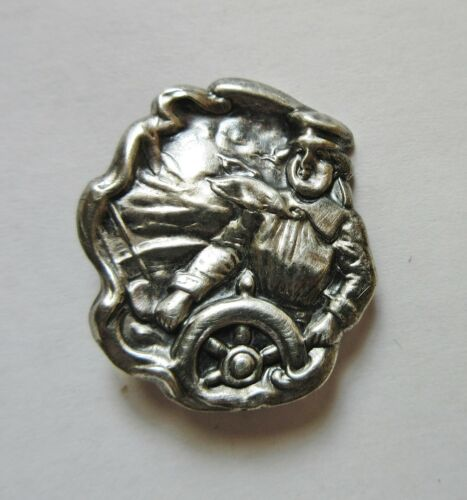 Antique Hatpin Sterling Silver Yachtswoman Sailing