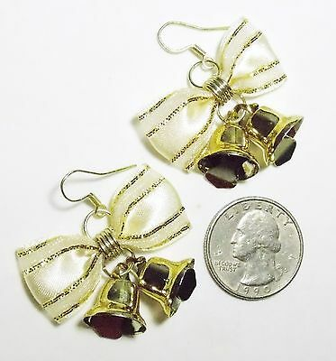Vtg Pierced Dangle Earrings, White & Sparkly Gold Fabric Bow, 2 Tinkle Bells