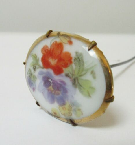 Antique Hatpin Porcelain Oval Hand Painted Flowers