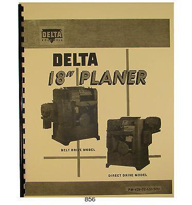 Rockwell 18x 6 Planer 22-200 Thru 22-251 Op Parts List Manual Apr 1961 856