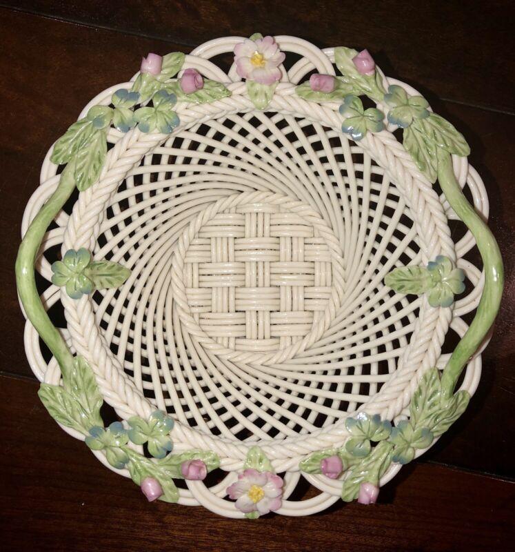 Belleek 2000 Millennium White Woven Porcelain Basket w/ Floral Accents