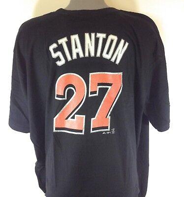 Miami Marlin Tee (Mens Majestic Miami Marlins Giancarlo Stanton #27 B&T Baseball Tee T-Shirt )