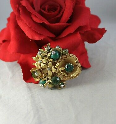 Vintage Floral Emerald Green & White Rhinestone   Pin Brooch CAT RESCUE Emerald Floral Brooch
