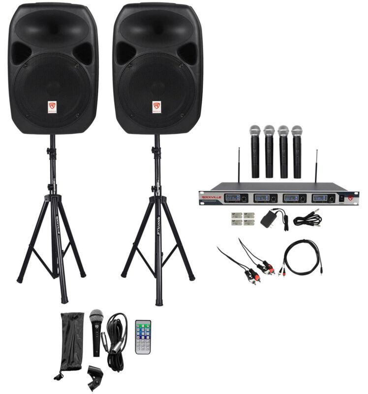"Rockville Dual 12"" Laptop/iphone/ipad/Android/TV Youtube Karaoke Machine/System"