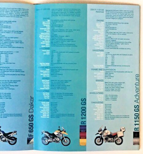 2004 BMW Motorcycle Brochure Full Line Dealer Sales Poster Kakar Rockster Monta