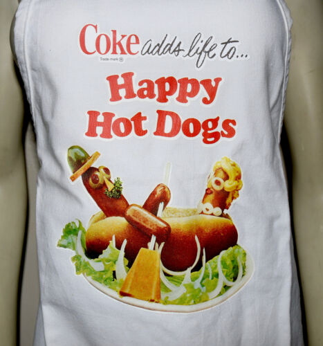 COKE adds life to Happy Hot Dogs apron soft drink vintage iron-on Coca-Cola