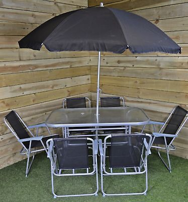 Garden Furniture - 6 Person Garden Furniture Patio Set Table, 6 Chairs & Parasol