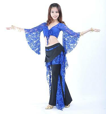 Hot belly dance 2pics costume Lace top & pants 11 colors (Hot Costume Pics)