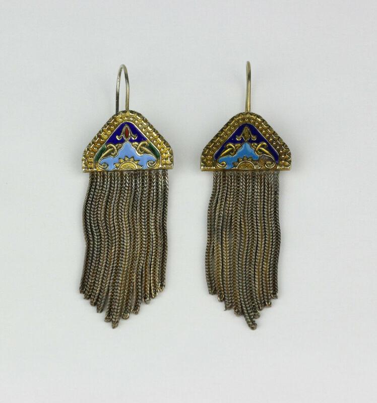 Handmade Turkey SANU Vintage Gold Tone Sterling Silver, Enamel Etruscan Earrings